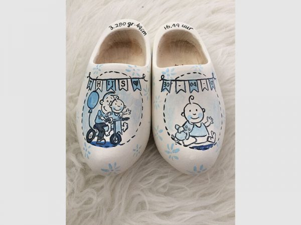 Geboorteklompjes Blauw en Wit